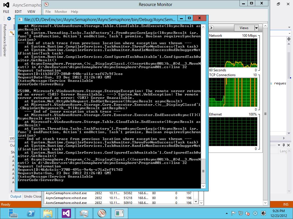 Azure Storage Client 2.0.3 時でのException